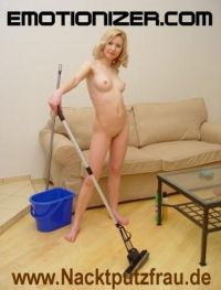 nude homecleaning housewife